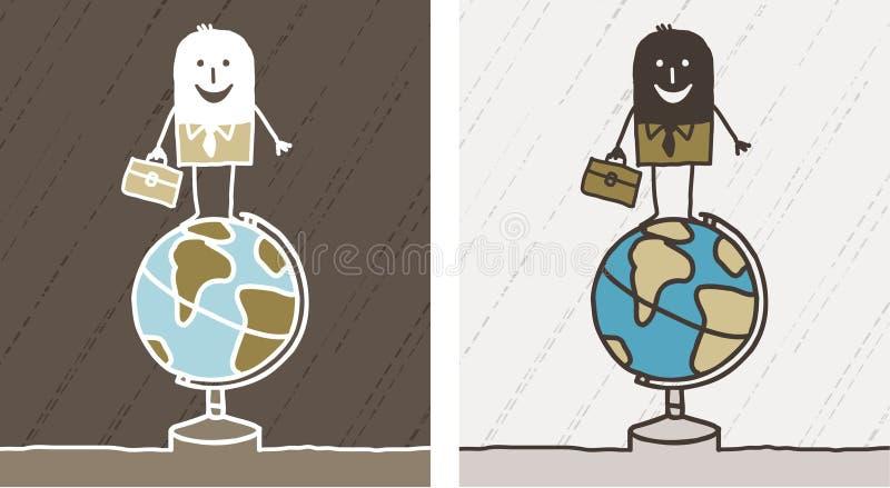 Reis & zaken gekleurd beeldverhaal stock illustratie