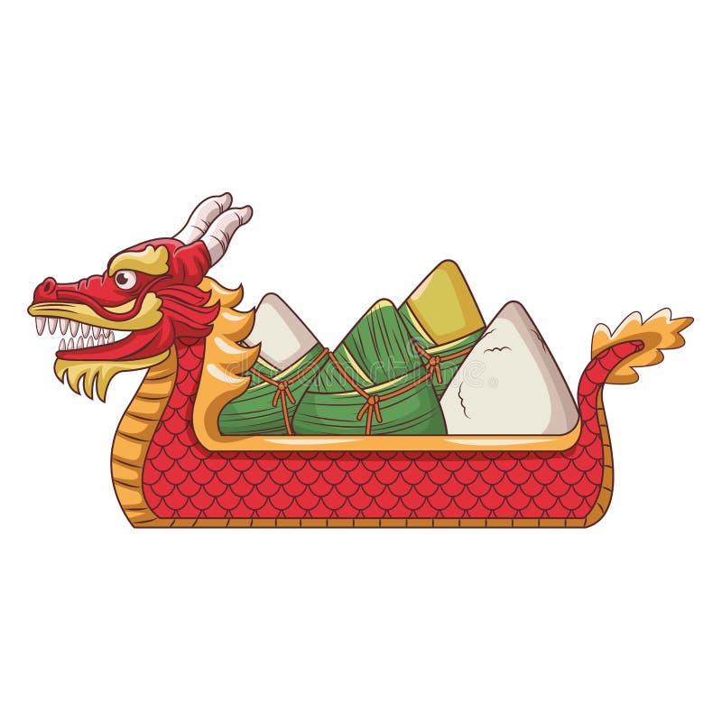 Reis auf dragonb Boot stock abbildung