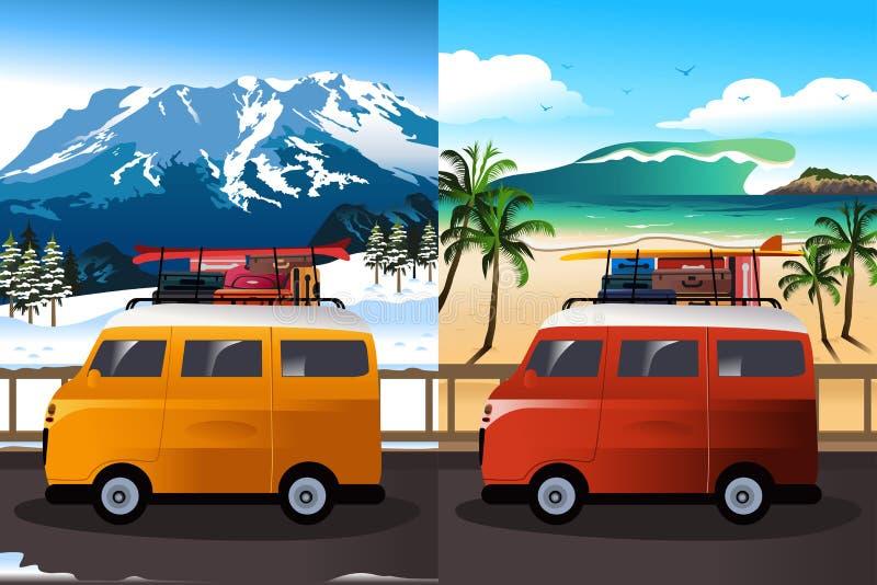 Reis in Bestelwagen stock illustratie