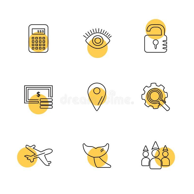 reis, bestemming, het winkelen, het terugstellen, kalender, eps pictogrammen s royalty-vrije illustratie
