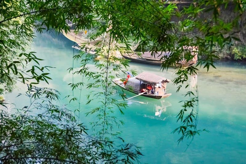 Reis, China, Geishameisje, Chinese vissersboot stock foto's