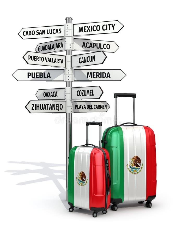 reis concept De koffers en voorzien wat van wegwijzers in Mexico te bezoeken vector illustratie