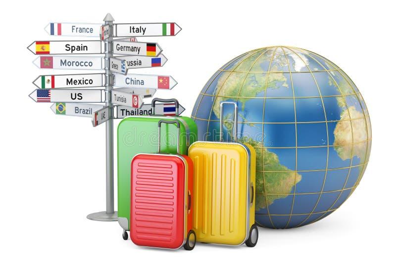 reis concept De koffers, voorzien en de Aardebol, 3D renderin van wegwijzers stock illustratie