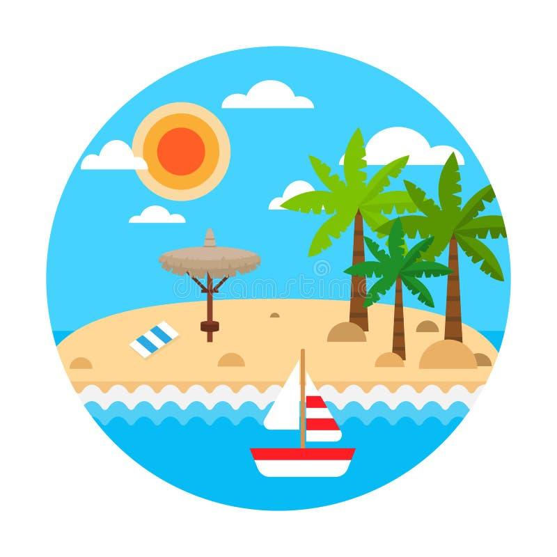 reis concept De zomervakantie op zandstrand De vectorbanner van de de zomerreis met golven, palm, stroparaplu's, zeilschip vector illustratie