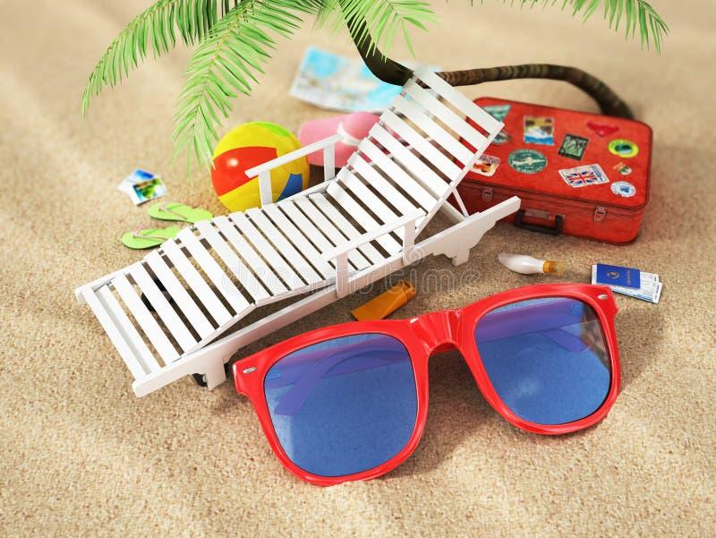 reis concept Sunbed, zonnebril, wereldkaart, royalty-vrije stock foto
