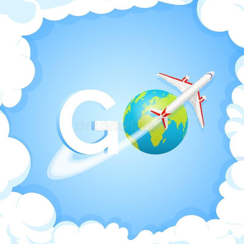 reis concept Word GAAT bij blauwe achtergrond met vliegtuigen en bol Vliegtuig die rond Aardeplaneet vliegen met continenten en stock illustratie