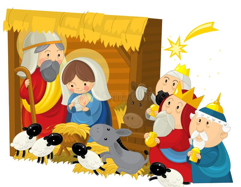 Reis da família três da ilustração religiosa e estrela de tiro santamente - cena tradicional ilustração stock