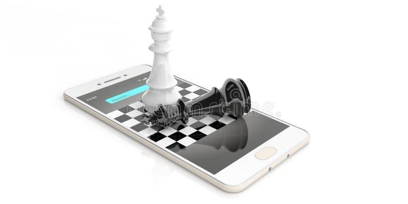 reis da xadrez da rendição 3d em um telefone esperto ilustração do vetor