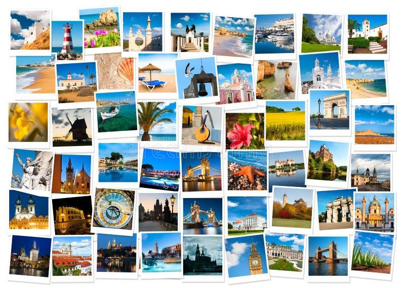 Reis in de collage van Europa stock foto's