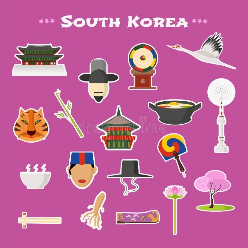 Reis de vector geplaatste pictogrammen naar van Korea, Seoel vector illustratie