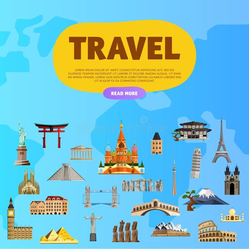 Reis de wereld Monumentenconcept Blauwe hemel en auto stock illustratie