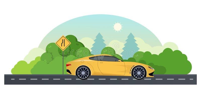 Reis door auto Reis op sportwagen bij de landweg stock illustratie