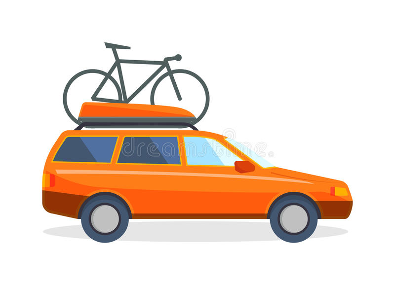 Reis door de vakantie vectorillustratie van de auto vlakke zomer stock illustratie