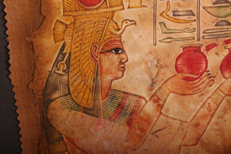 Reis e papiro egípcios velhos da rainha imagens de stock