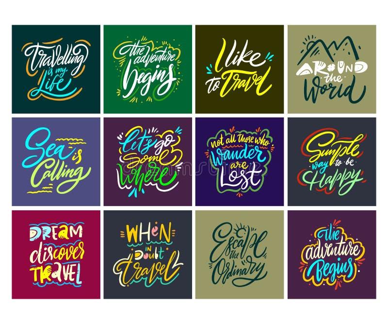 Reis en Avonturen het van letters voorzien reeks 10 Hand getrokken vectorillustratie Motievencitaat en uitdrukking vector illustratie