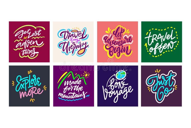 Reis en Avonturen het van letters voorzien reeks 14 Hand getrokken vectorillustratie Motievencitaat en uitdrukking stock illustratie