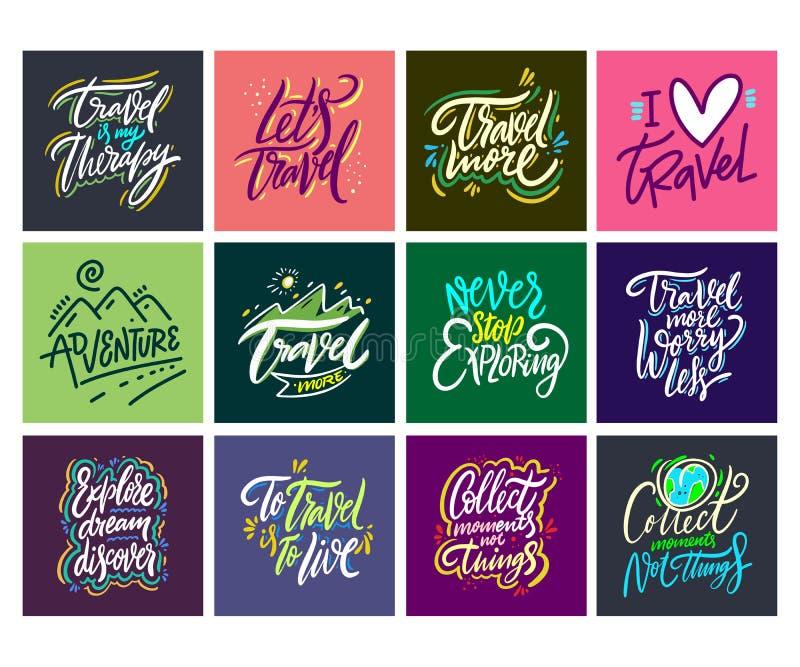 Reis en Avonturen het van letters voorzien reeks 13 Hand getrokken vectorillustratie Motievencitaat en uitdrukking vector illustratie