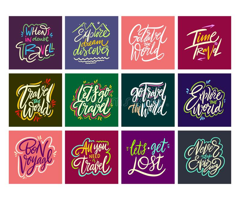 Reis en Avonturen het van letters voorzien reeks 12 Hand getrokken vectorillustratie Motievencitaat en uitdrukking vector illustratie