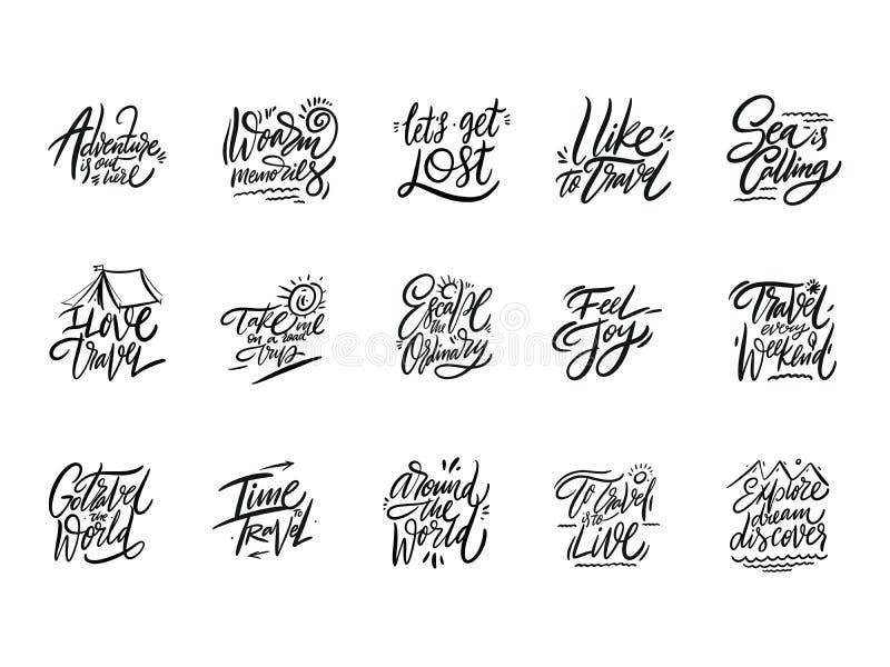 Reis en Avonturen het van letters voorzien reeks 04 Hand getrokken vectorillustratie Motievencitaat en uitdrukking stock illustratie
