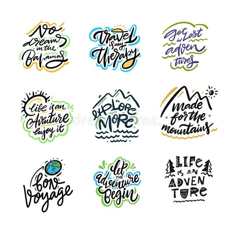 Reis en Avonturen het van letters voorzien reeks 07 Hand getrokken vectorillustratie Motievencitaat en uitdrukking royalty-vrije illustratie