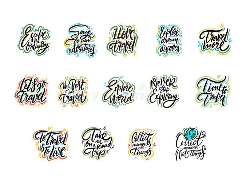 Reis en Avonturen het van letters voorzien reeks 02 Hand getrokken vectorillustratie Motievencitaat en uitdrukking stock illustratie