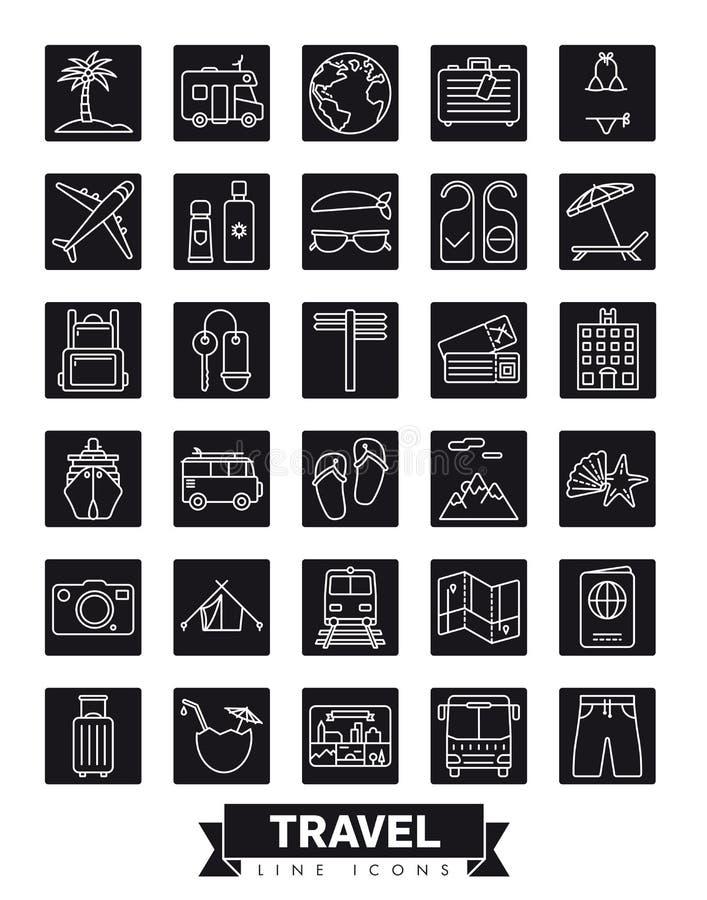 Reis en de zomer het pictogramreeks van de vakantie vierkante lijn vector illustratie