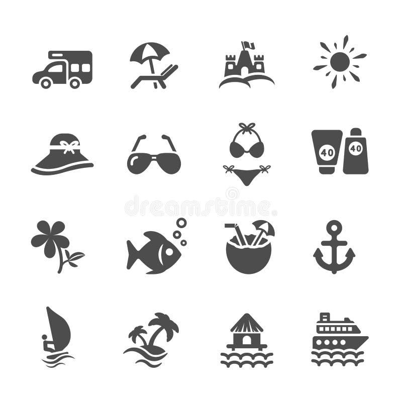 Reis en de zomer het strandpictogram plaatste 2, vectoreps10 vector illustratie