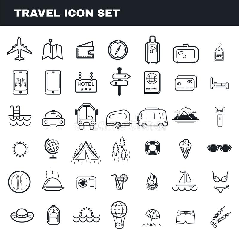 Reis en het kamperen vector het pictogramreeks van het thema vlakke overzicht royalty-vrije illustratie