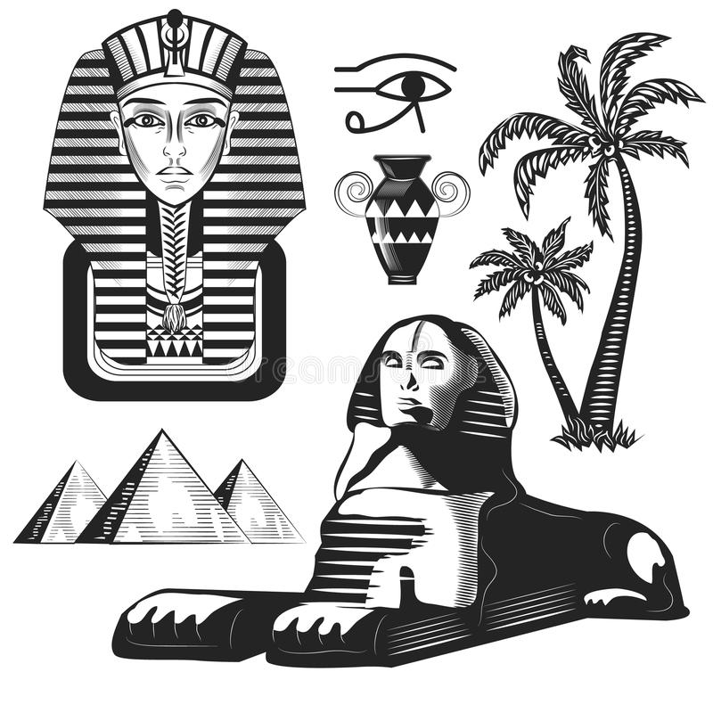 Reis en het malplaatjeontwerp van oriëntatiepuntegypte Vector illustratie royalty-vrije stock afbeelding