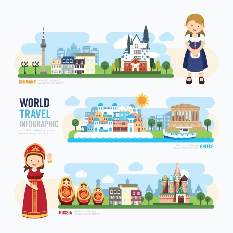 Reis en het openlucht van het het Oriëntatiepuntmalplaatje van Europa Ontwerp Infographic royalty-vrije illustratie