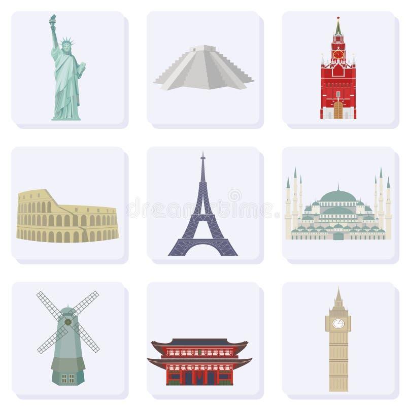 Reis en toerisme Een reeks gekleurde pictogrammen die de architecturale oriëntatiepunten van de wereld afschilderen Vector stock illustratie