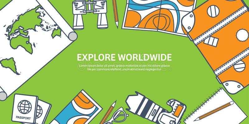Reis en toerisme Het vlakke art. van de stijllijn Wereld, aardekaart Bol De reis van de reisreis, de zomervakantie travelling vector illustratie
