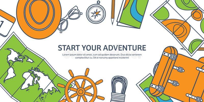 Reis en toerisme Het vlakke art. van de stijllijn Wereld, aardekaart Bol De reis van de reisreis, de zomervakantie travelling stock illustratie