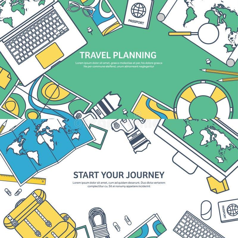 Reis en toerisme vectorillustratie in de vlakke stijl van het lijnoverzicht Het reizen en wereld het onderzoeken Avonturenexpedit vector illustratie