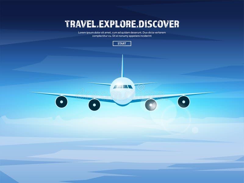 Reis en toerisme vectorillustratie Vliegtuigvliegtuig die, luchtvaart landen Vlucht, lucht het reizen De vakantie van de zomer stock illustratie