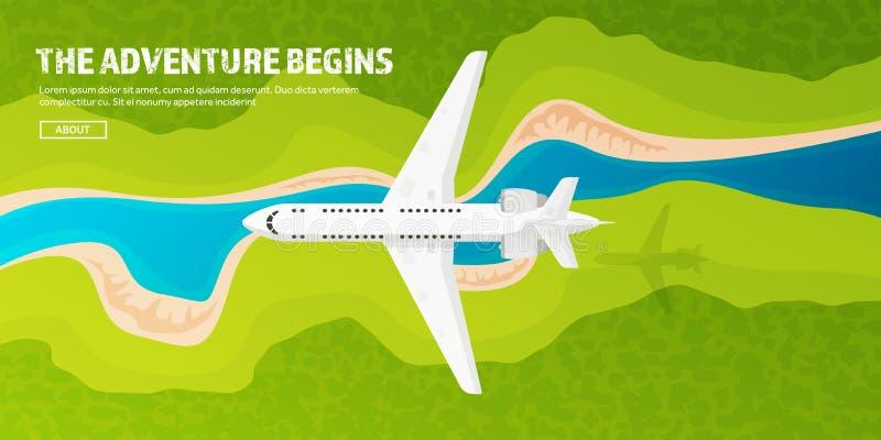 Reis en toerisme vectorillustratie Vliegtuigvliegtuig die, luchtvaart landen Vlucht, lucht het reizen De vakantie van de zomer vector illustratie