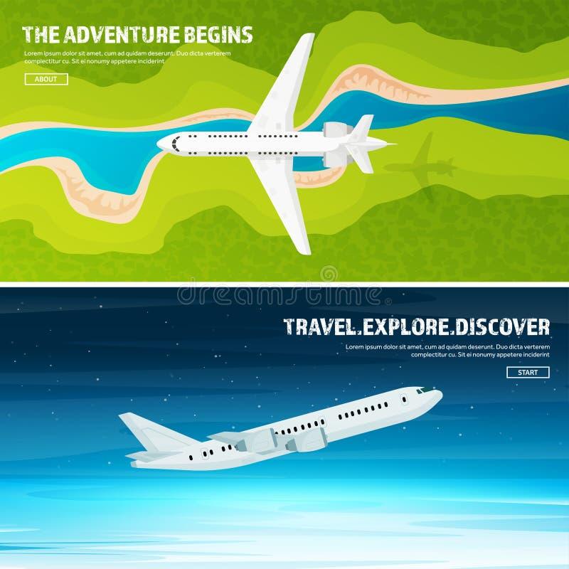 Reis en toerisme vectorillustratie Vliegtuigvliegtuig die, luchtvaart landen Vlucht, lucht het reizen De vakantie van de zomer royalty-vrije illustratie