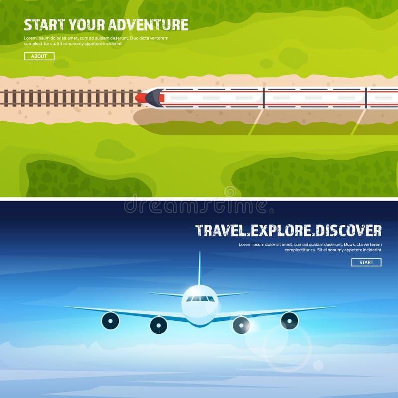 Reis en toerisme vectorillustratie Vliegtuigvliegtuig die, luchtvaart landen Vlucht, lucht het reizen De zomervakantie, trein stock illustratie