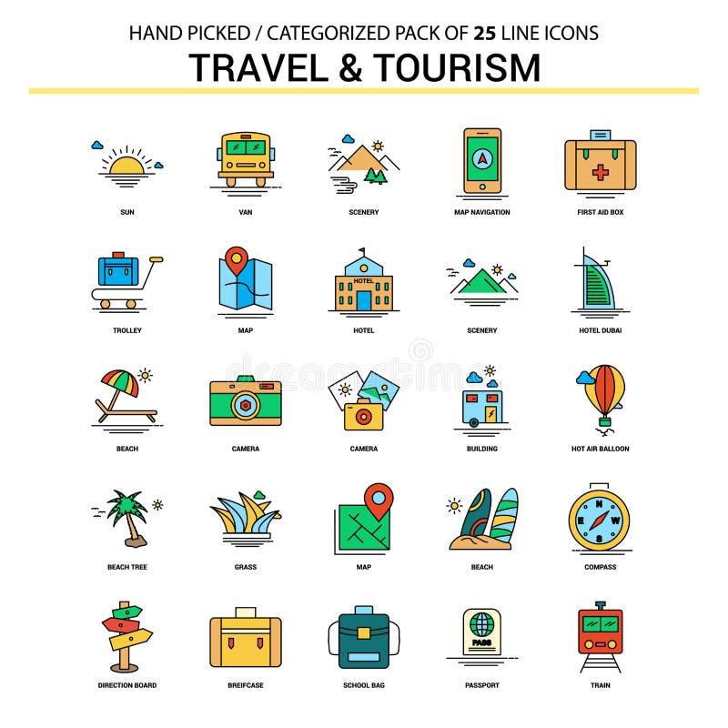 Reis en Toerisme Vlak Geplaatst Lijnpictogram - Bedrijfsconceptenpictogrammen D vector illustratie