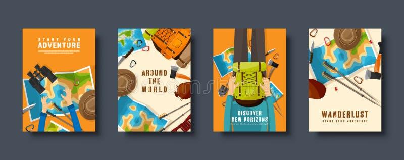 Reis en toerisme vlakke geplaatste stijldekking Wereld, de navigatie van de aardekaart Reis, de vakantie van de de zomertijd trav vector illustratie