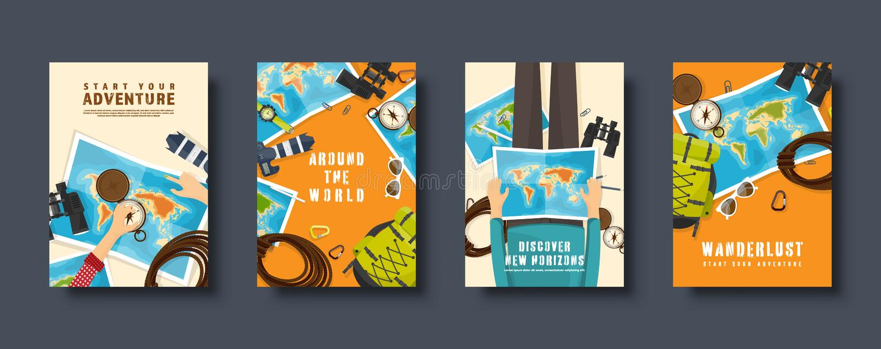 Reis en toerisme vlakke geplaatste stijldekking Wereld, de navigatie van de aardekaart Reis, de vakantie van de de zomertijd trav royalty-vrije illustratie