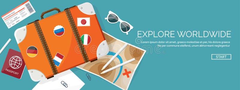 Reis en toerisme vlakke stijl vectorillustratie De kaart en de bol van de wereldaarde De reis van de reisreis, de zomervakantie vector illustratie