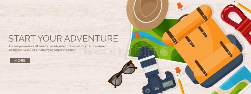 Reis en toerisme vlakke stijl vectorillustratie De kaart en de bol van de wereldaarde De reis van de reisreis, de zomervakantie royalty-vrije illustratie