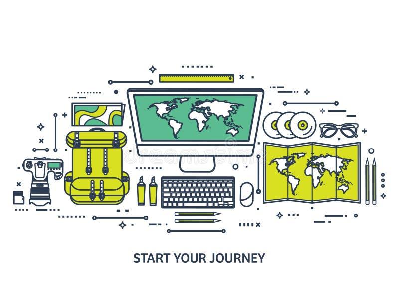 Reis en toerisme Vlakke stijl Wereld, aardekaart Bol Reis, reis, reis, de zomervakantie Het reizen, het onderzoeken vector illustratie