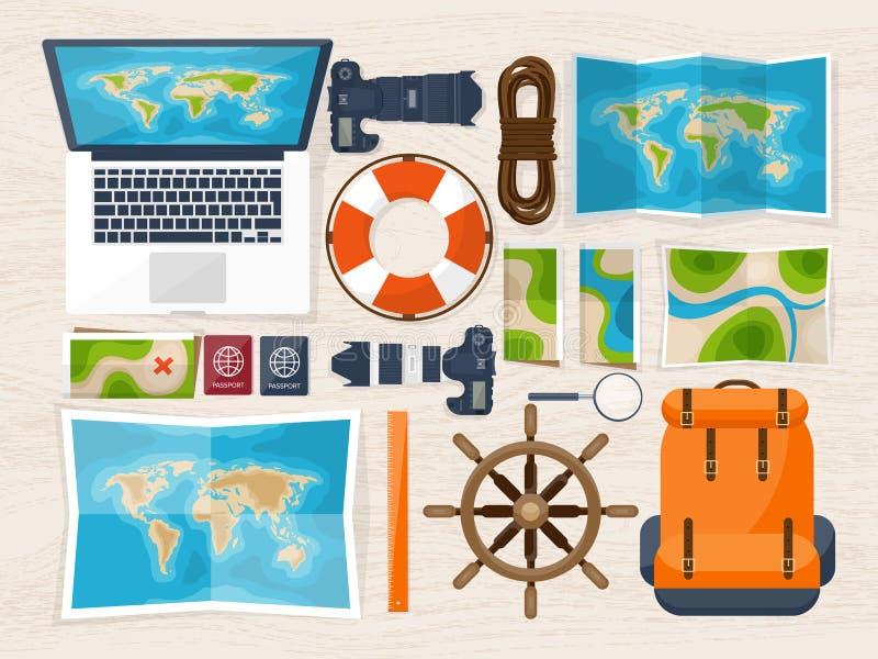 Reis en toerisme Vlakke stijl Wereld, aardekaart Bol Reis, reis, reis, de zomervakantie Het reizen, het onderzoeken royalty-vrije illustratie