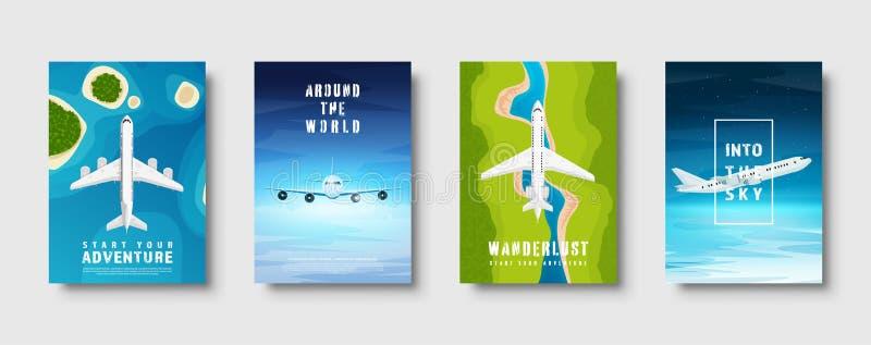 Reis en toerisme Vliegtuig, luchtvaart De vakantie van de de zomervakantie Vliegtuig het landen E r vector illustratie