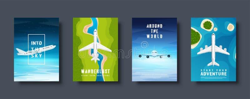 Reis en toerisme Vliegtuig, luchtvaart De vakantie van de de zomervakantie Vliegtuig het landen E r stock illustratie
