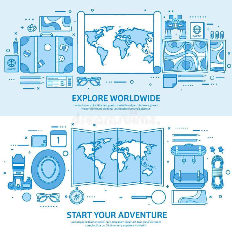 Reis en toerisme Wereldkaart, aardebol De reis van de reisreis, de zomervakantie Reizen, die wereldwijd onderzoekt stock illustratie