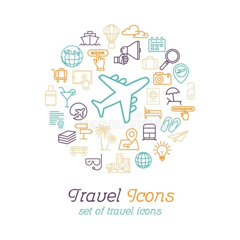 Reis en Toerismelijnpictogrammen geplaatst vlak ontwerp, het malplaatje van het Embleemontwerp royalty-vrije illustratie