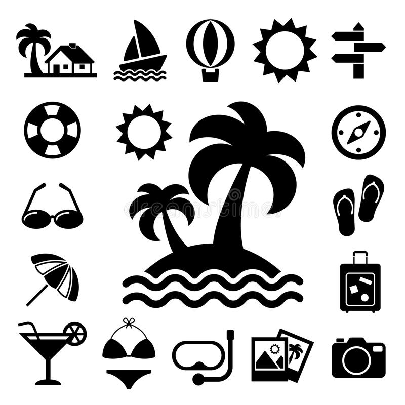 Reis en vakantie geplaatste Pictogrammen stock illustratie